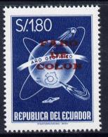 151274 Ecuador 1964 Columbus Lighthouse - Faro De Colon Overprinted On 1s80 International Geophysical Year (globes) - Ecuador