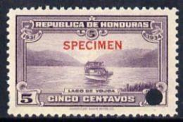 20241 Honduras 1931 Boat On Lake Yojoa 5c U/m Optd SPECIMEN (13mm X 2mm) With Security Punch Hole (lakes Ships) - Honduras