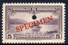 20242 Honduras 1931 Boat On Lake Yojoa 5c U/m Optd SPECIMEN (20mm X 3mm) With Security Punch Hole (lakes Ships) - Honduras