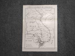 ANTIQUE ASIA ECONOMIC'S MAP OF INDOCHINE 1930'S - Cartes