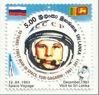 Sri Lanka 2011 MNH Yuri Gagarin, First Man In Space, Astronaut, Space, Russian, Circle - Odd Shaped - Space