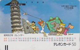 TC Ancienne Japon / 110-17369 - COMICS FLINTSTONES In ITALY ** PISA TOWER ** - Japan Front Bar Pc - Série Site 6/12 - Paesaggi