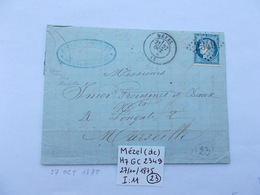 BASSES ALPES.CACHET MEZEL G.C 2349.ANNEE 1875.TIMBRE CERES 25 CTS. - Marcophilie (Lettres)