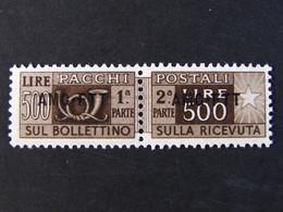 """ITALIA Trieste Pacchi AMG-FTT -1949-53- """"Corno"""" £. 500 Varietà Fil. SA MNH** (descrizione) - 7. Trieste"""