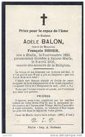 ETALLE ..-- Mme Adèle BALON , Veuve De Mr François DIDIER . 1850 , Décédée 1916 à SAINTE - MARIE . - Etalle