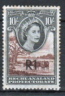 Bechuanaland Protectorate 1961 Elizabeth 10/- Black And Red Brown Definitive Stamp With Overprint. - Bechuanaland (...-1966)