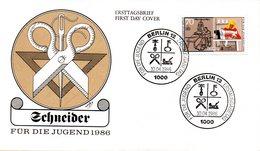 """Westberlin Schmuck-FDC Mi. 756 """"Handwerksberufe - Der Schneider"""" ESSt 10.4.1986 BERLIN 12 - Berufe"""