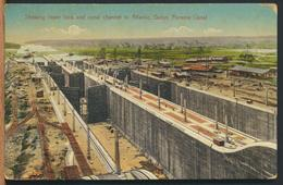 °°° 12048 - PANAMA , GATUN , SHOWING LOWER LOCK AND CANAL CHANNEL TO ATLANTIC - 1918 °°° - Panama