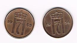 =&   NOORWEGEN  2 X 2  ORE 1955/56 - Norvège