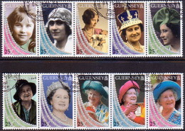 GUERNSEY 1999 SG 817-26 Compl.set In Two Strips Of 5 Used Queen Mother - Guernsey
