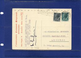 ##(ANT10)-1960-cartolina Postale L.20 Filagrano C154 Stampa Privata Mittente In Rosso Sul Fronte Da Grosseto Per Livorno - 6. 1946-.. Repubblica