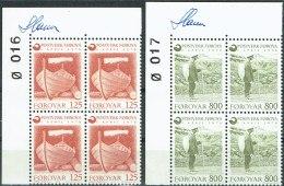 Czeslaw Slania. Faroe Islands 1976. The Faroe Islands Post. Michel 21+23, Plate Block , MNH   Signed - Féroé (Iles)