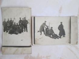 2 Cartes Photo . Militaires Les Joies De La Neige . Cachet Militaire - Regiments