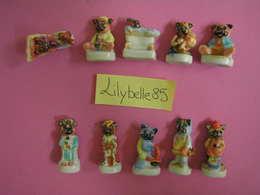 Serie Complète De 10 Fèves Anciennes En Porcelaine - NOUNOURS 1997 ( Feve Miniature Figurine ) - Animals