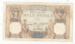 Billet, Cérés Et Mercure, Mille ,1000 Francs,  31 Juillet 1930 , 2 Scans , Frais Fr : 1.55 E - 1871-1952 Anciens Francs Circulés Au XXème