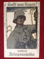 Foto AK WW1 Soldat Mit Helm Helft Uns Siegen Zeichnet Kriegsanleihe Feldpost 1918 Feldart. Regts. 44 Nach Danzig - Uniformen