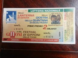 18366) LOTTERIA NAZIONALE LANTERNA DI GENOVA, GIOSTRA DELLA QUINTANA DI ASCOLI PICENO E FILM FESTIVAL DI GIFFONI 1997 - Billets De Loterie