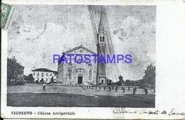 99178 ITALY VIGONOVO VENECIA CHURCH ARCIPRETALE SPOTTED CIRCULATED TO ARGENTINA POSTAL POSTCARD - Italia