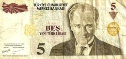 TURKEY 5 LIRASI  BROWN MAN HEAD FRONT & BUILDING BACK  DATED 2005 F+ P.217 READ DESCRIPTION !! - Turchia