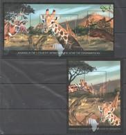 A704 2012 REPUBLIQUE DE GUINEE AFRICAN ANIMALS DE DISPARITION 1KB+1BL MNH - Briefmarken