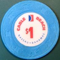 $1 Casino Chip. Cable Beach, Nassau, Bahamas. M62. - Casino
