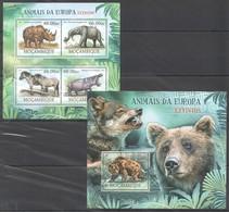 A710 2012 MOCAMBIQUE FAUNA ANIMALS ANIMAIS DA EUROPA EXTINTOS 1KB+1BL MNH - Briefmarken