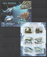 A713 2012 MOCAMBIQUE FISH & MARINE LIFE VIDA MARINHA EM VIAS EXTINCAO 1SH+1BL MNH - Meereswelt