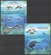 A714 2012 MOCAMBIQUE MARINE LIFE DOLPHINS GOLFINHOS EM VIAS EXTINCAO 1SH+1BL MNH - Delfine