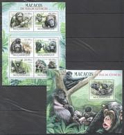 A716 2012 MOCAMBIQUE FAUNA ANIMALS MACACOS EM VIAS DE EXTINCAO 1SH+1BL MNH - Affen