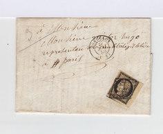 Sur Lettre Avec Correspondance Adressée à Victor Hugo Type Céres 20 C. Noir Sur Jaune Oblitéré Grille De 1849. (637) - Marcophilie (Lettres)