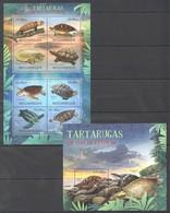 A721 2012 MOCAMBIQUE MARINE LIFE TURTLES TARTARUGAS EM VIAS EXTINCAO 1SH+1BL MNH - Schildkröten