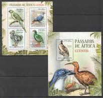 A723 2012 MOCAMBIQUE FAUNA BIRDS PASSAROS DE AFRICA EXTINTOS 1KB+1BL MNH - Vögel