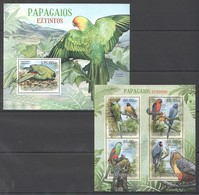 A724 2012 MOCAMBIQUEFAUNA BIRDS PARROTS PAPAGAIOS EXTINTOS 1KB+1BL MNH - Papageien