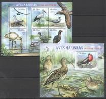 A725 2012 MOCAMBIQUE FAUNA BIRDS AVES MARINHAS EM VIAS EXTINCAO 1SH+1BL MNH - Vögel