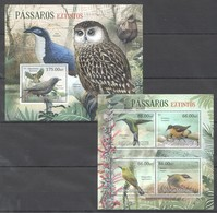 A727 2012 MOCAMBIQUE FAUNA BIRDS PASSAROS EXTINTOS 1KB+1BL MNH - Vögel