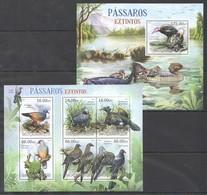 A728 2012 MOCAMBIQUE FAUNA BIRDS PASSAROS EXTINTOS 1KB+1BL MNH - Vögel