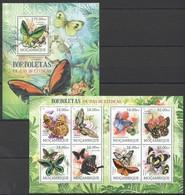 A734 2012 MOCAMBIQUE FAUNA BUTTERFLIES BORBOLETAS EM VIAS DE EXTINCAO 1SH+1BL MNH - Schmetterlinge