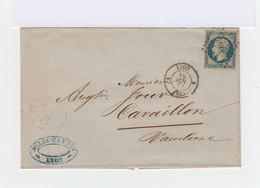 Sur Lettre Napoléon III 20 C Bleu Type II CAD Lyon. Oblitération Losange Grands Chiffres. 1854. (640) - Marcophilie (Lettres)
