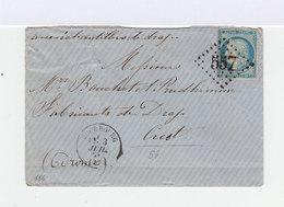 Sur Enveloppe Type Céres 20 C. Bleu Oblitéré Losange Gros Chiffres. CAD Bourbourg. (641) - Marcophilie (Lettres)