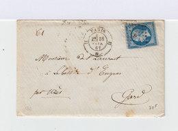 Sur Enveloppe Avec Correspondance Napoléon III 20 C. Bleu Type I. Oblitération Losange. (642) - Marcophilie (Lettres)