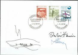 Czeslaw Slania.Faroe Islands 1975. Founding Of The Faroe Islands Post.. Michel  21-23  FDC.  Signed. - Féroé (Iles)