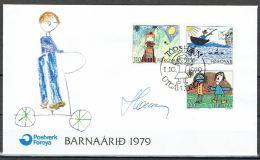 Czeslaw Slania.Faroe Islands 1979.  Children Drawings.. Michel  45-47  FDC.  Signed - Féroé (Iles)