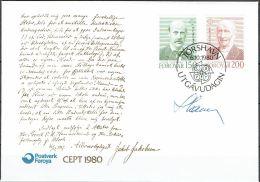 Czeslaw Slania.Faroe Islands 1980.  CEPT.. Michel  53-54  FDC.  Signed - Féroé (Iles)
