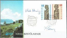 Czeslaw Slania.Faroe Islands 1980.  From Olafchurch In Kirkjubøur.. Michel  55-58  FDC.  Signed - Féroé (Iles)