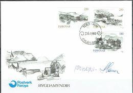 Czeslaw Slania. Faroe Islands 1982. Faroese Villages.   Michel 72-74, FDC.  Signed. - Féroé (Iles)