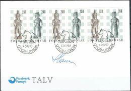 Czeslaw Slania. Faroe Islands 1983. Chess Figures.   Michel 82-83, FDC.  Signed. - Féroé (Iles)