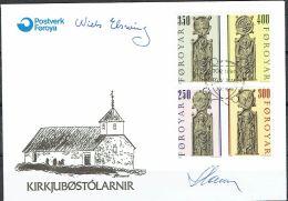 Czeslaw Slania. Faroe Islands 1984.  From  Olafchurch In Kirkjubøur.   Michel 93-96, FDC.  Signed. - Féroé (Iles)