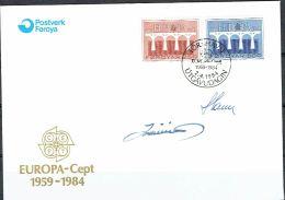 Czeslaw Slania. Faroe Islands 1984.  CEPT.   Michel 97-98, FDC.  Signed. - Féroé (Iles)