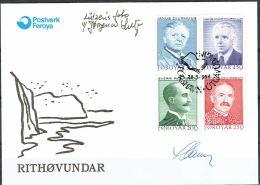 Czeslaw Slania. Faroe Islands 1984. Writers.   Michel 99-102, FDC.  Signed. - Féroé (Iles)