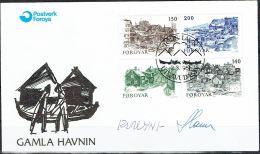 Czeslaw Slania. Faroe Islands 1981. Old Tórshavn.   Michel 59-62, FDC.  Signed. - Féroé (Iles)